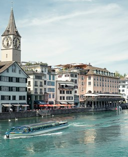 A view of the Limmat river in Zurich