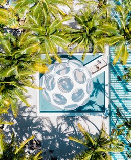 Aerial shot of Palm Court Plaza and the Buckminster Fuller Fly Eye Dome surrounded by palm trees in Miami's Design District