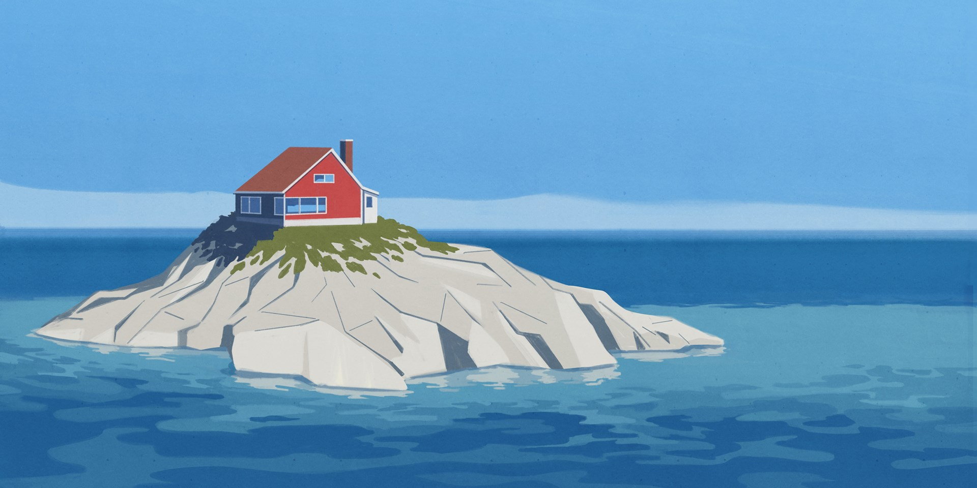 Illustration of a solitary red house on a rocky island surrounded by blue skies and blue water