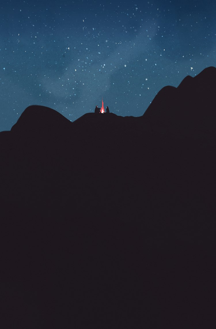 Illustration of a barely visible couple sitting by a flame bursting out of a black outcrop beneath a starlit navy sky