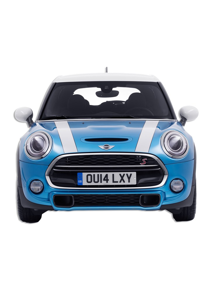 A metallic blue Mini with white stripes on bonnet and a white roof