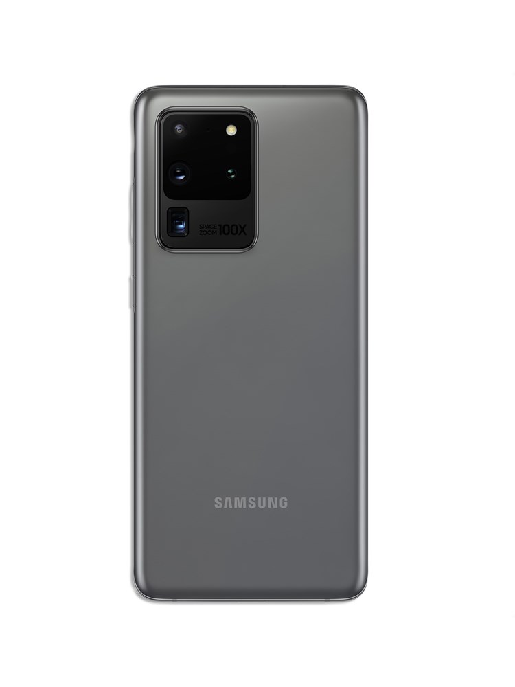 A back view of a Samsung S20+ smartphone showing its quad camera in the top left corner