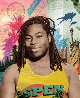 Ade Adepitan in a yellow vest with Aspen logo in front of a colourful montage of holiday locations