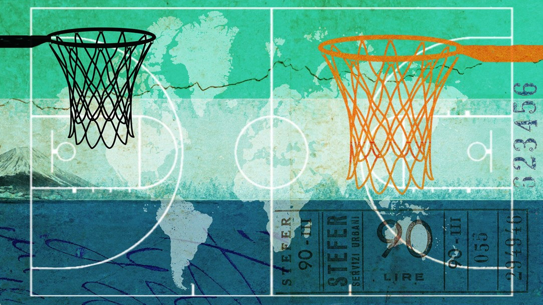 Illustration of two basketball nets in front of a green, cream and blue map of the world
