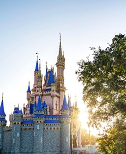 The Cinderella Castle at sunset in Disney World's Magic Kingdom