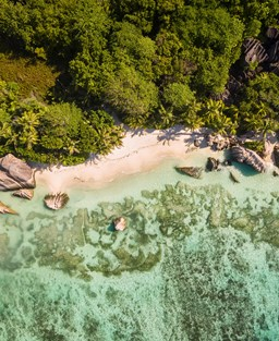 Aerial view of Anse Source D'Argent beach, Seychelles