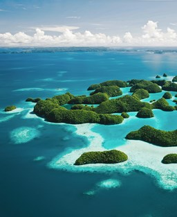 Aerial view of tiny islands in Micronesia