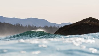 Close-up of a wave crashing gently in Vancouver Island