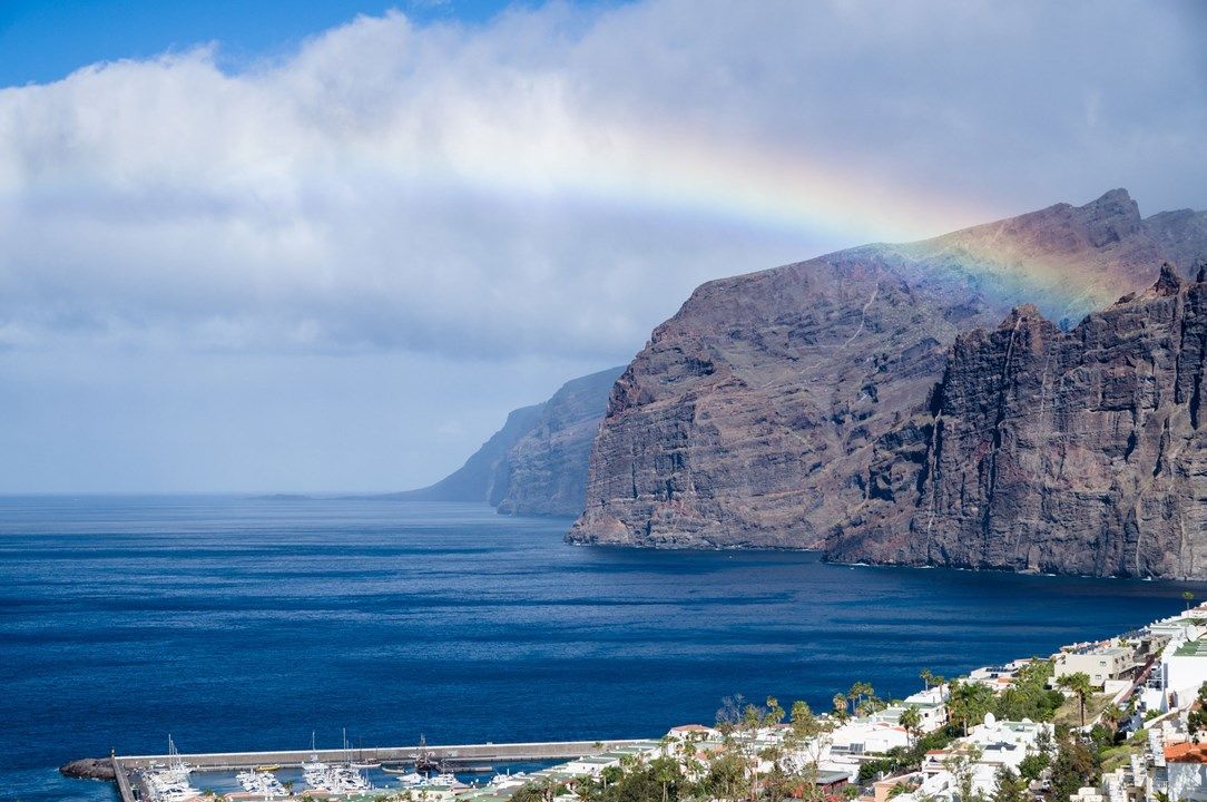 A rainbow over a mountain in Tenerife