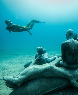 Underwater sculpture and a diver