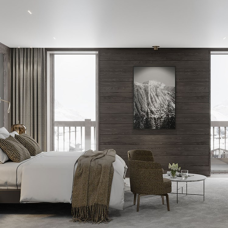 Stylish hotel room with grey colour scheme