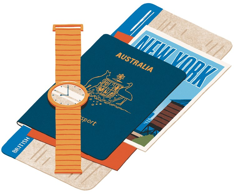 Drawing of a wrist watch on top of a passport and travel tickets
