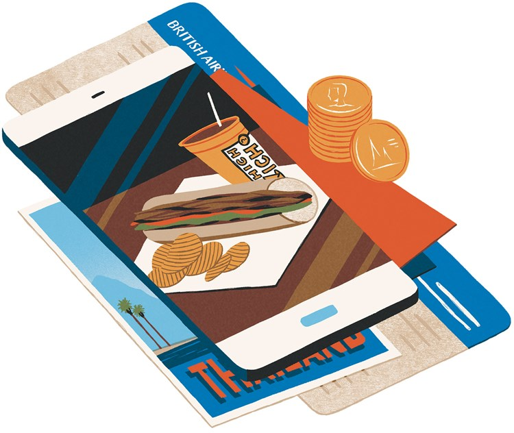 Drawing of a mobile phone with food on the screen on top of travel tickets and coins