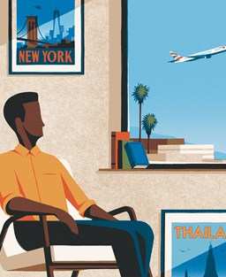 Illustration of a man at a window surrounded by travel posters