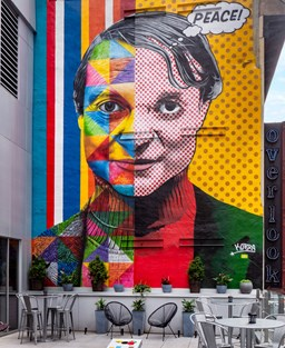Colourful street art on a wall in New York