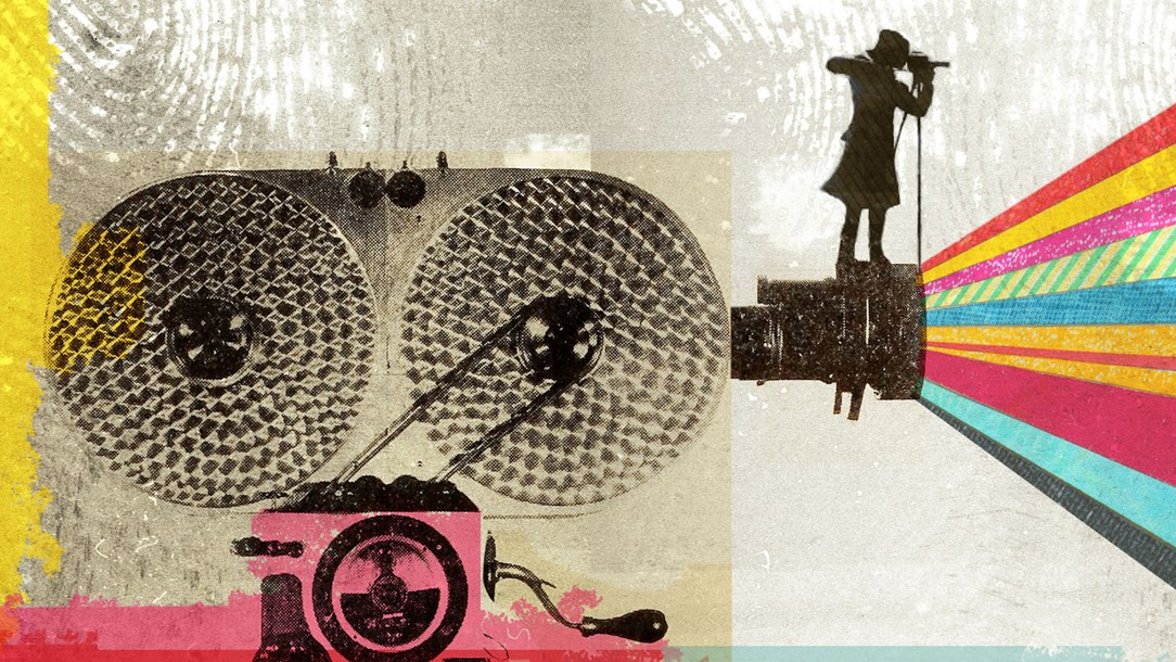 A colourful collage style illustration of an old fashioned movie camera with a woman standing on it