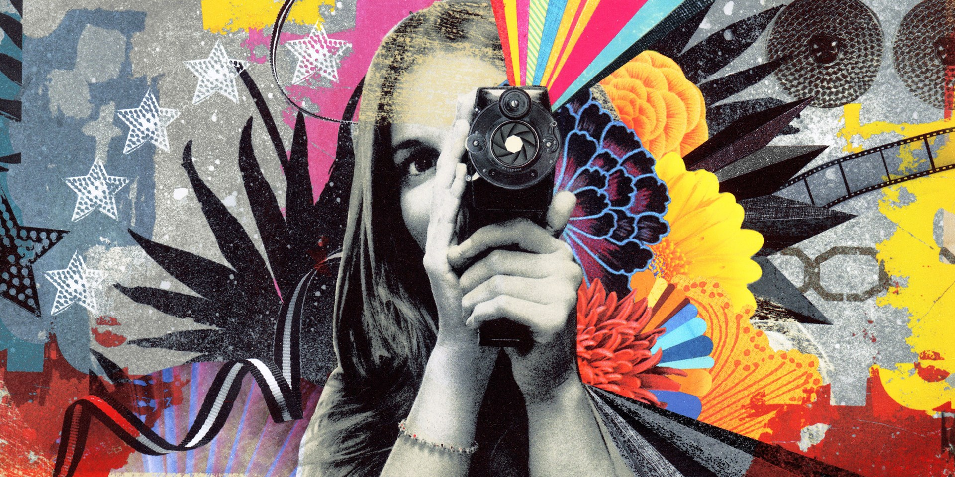 A colourful collage style illustration of a woman with a movie camera