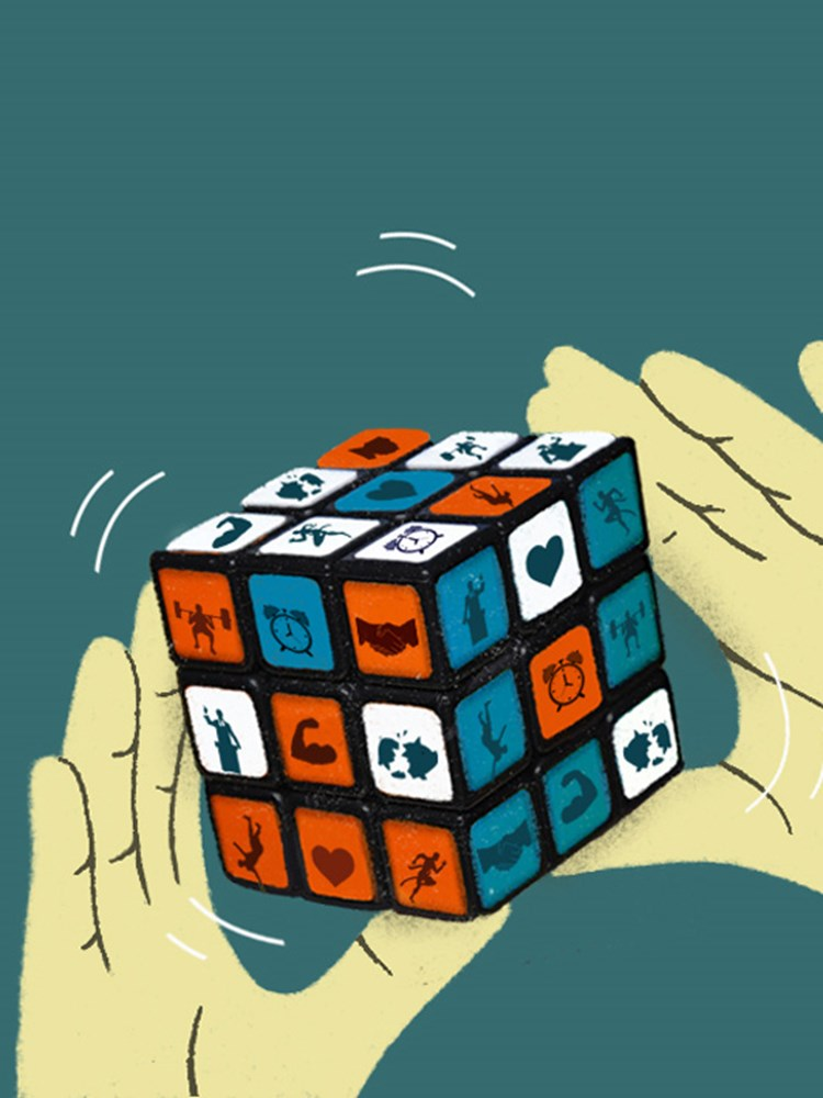 illustration of a cube puzzle being solved