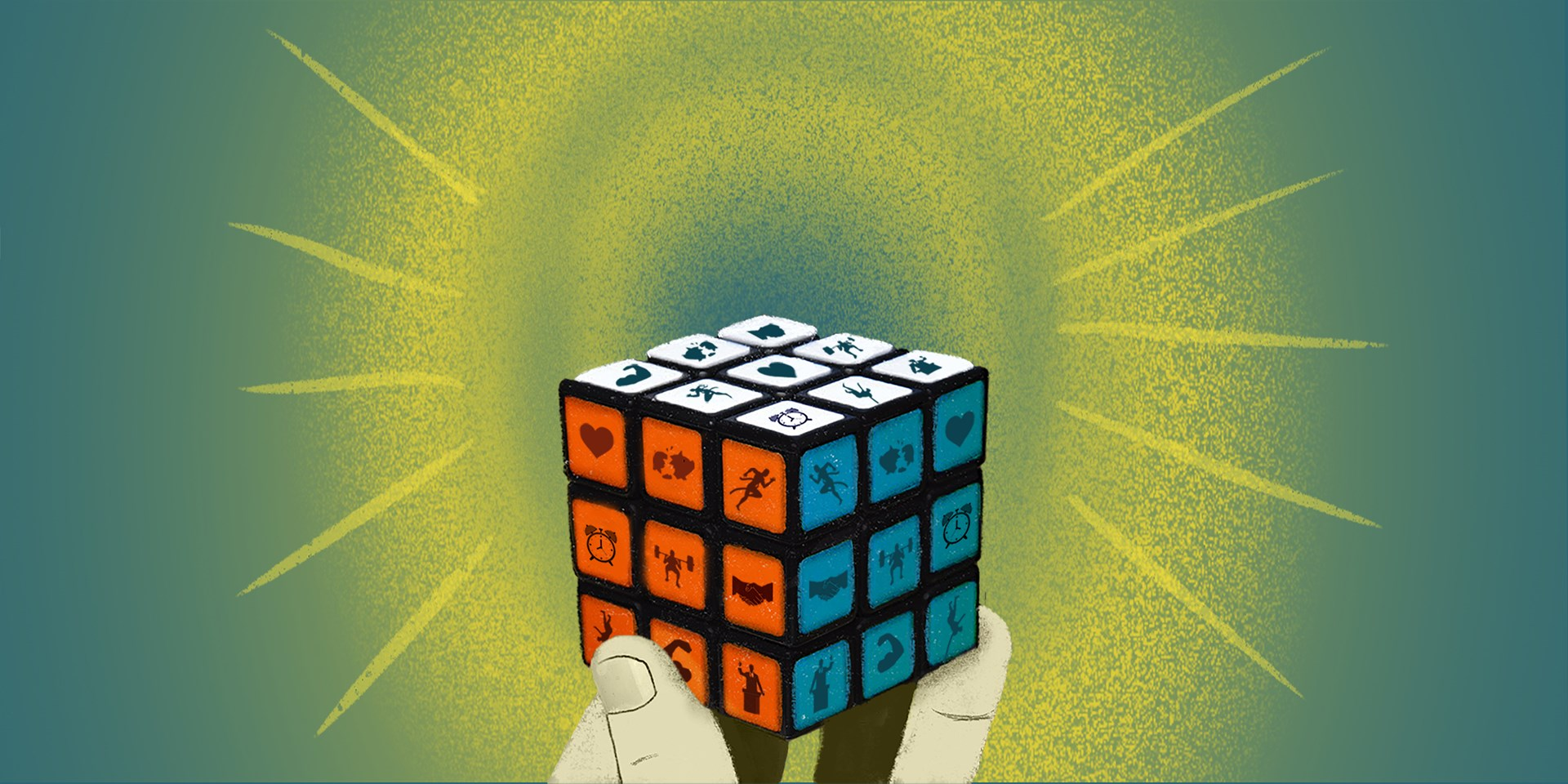 Illustration of a solved puzzle being held up